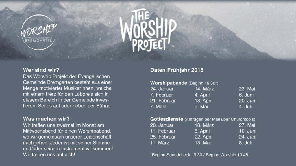Flyer Worship Projekt 18